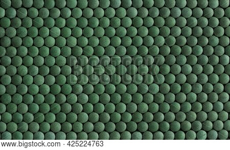 Spirulina Pills Background. Green Superfood Concept. Flat Lay, Top View