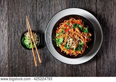 Grilled Soy Meat Strips With Spicy Egg Noodle,  Bean, Sprouts, Kale, Cilantro And Chili In A Bowl, O