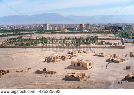 View Of The City Of Yazd, Iran, And Its Archeological Site, From Zoroastrian Tower Of Silence With H