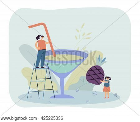 Woman And Little Girl Making Giant Berry Cocktail Together. Flat Vector Illustration. Mom And Daught
