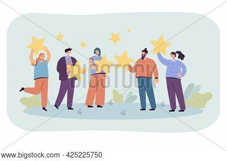 Group Of People Holding Giant Stars In Hands. Flat Vector Illustration. Business Workers Getting Pos