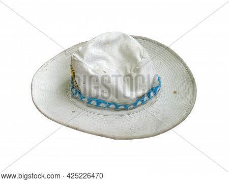 Dirty Old White Cloth Hat Isolated On White Background, Gardener Hat With Blue Fabric Ribbon Strap
