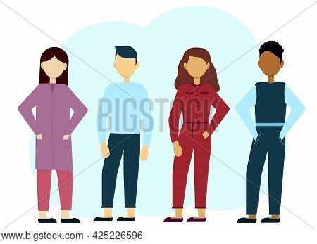 Vector Illustration Of Multiethnic Stylish Men And Women. Communication