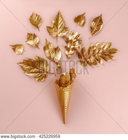 Wall Art. Botanical Set. Lifestyle Decoration. Gold Ice Cream Cone With Autumn Gold Leaves, On Pink