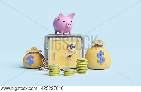 Safe Box And Piggy Bank With Money Bag,coins,diamond Isolated On Blue Pastel Background ,business Ba