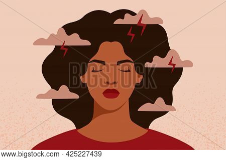 African American Woman Feels Anxiety And Emotional Stress. Depressed Black Girl Experiences Mental H