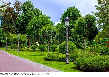 Flower Bed With Bushes And Flowers In A Park With An Iron Lanterns Pillar Of Street Lighting In A Ga