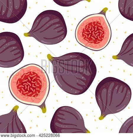 Fig Seamless Pattern, Whole And Half Isolated On White. Summer Or Autumn Harvest And Plants For The