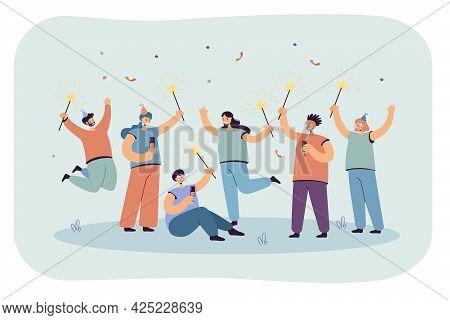 Joyful Celebration Of Men And Women In Caps. Flat Vector Illustration. Team Of Happy Office People C