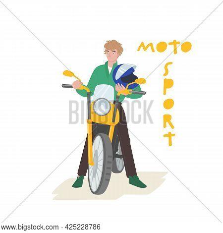 Biker, Rider Character. Moto Sport, Active Lifestyle Concept.