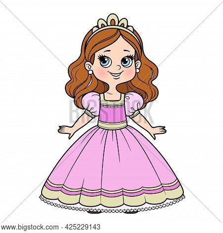 Cute Cartoon Girl Dressed Ball Dress And Tiara Color Variation For Coloring Page Isolated On White B
