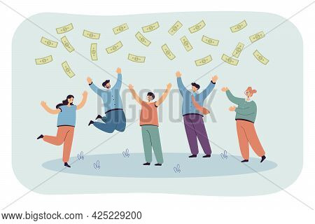 Team Of Happy People Jumping For Joy Of Winning Money. Flat Vector Illustration. Workers Standing Un