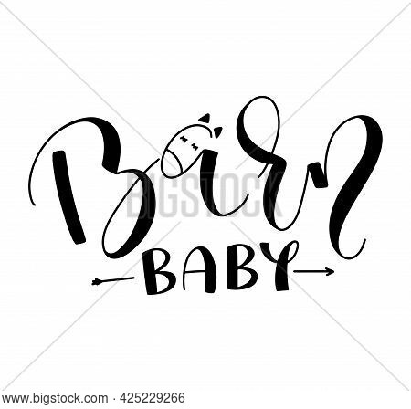 Barn Baby - Black Lettering With Doodle Horse, Vector Illustration Isolated On White Background