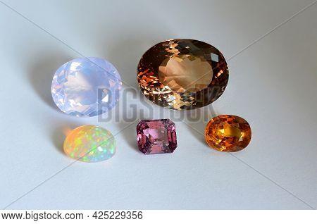 Natural Mined Gemstone Settings Lot Set. Lavender, Light Purple Amethyst, Golden Brown Topaz, Color