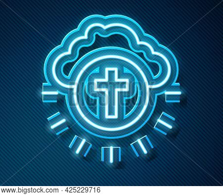 Glowing Neon Line Religious Cross In The Circle Icon Isolated On Blue Background. Love Of God, Catho