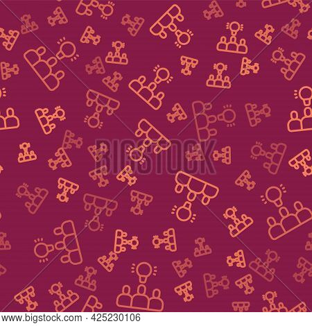 Brown Line Project Team Base Icon Isolated Seamless Pattern On Red Background. Business Analysis And