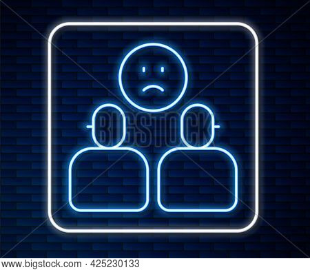 Glowing Neon Line Complicated Relationship Icon Isolated On Brick Wall Background. Bad Communication