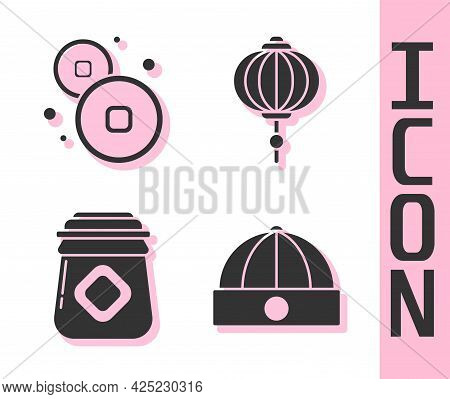 Set Chinese Hat, Chinese Yuan Currency, Jar Of Honey And Chinese Paper Lantern Icon. Vector