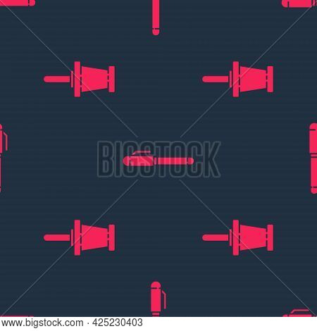 Set Push Pin And Pen On Seamless Pattern. Vector