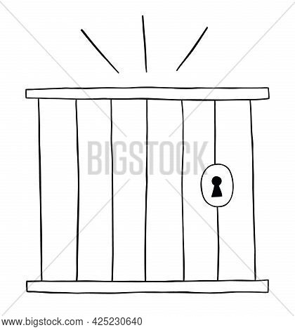 Cartoon Vector Illustration Of Prison. Black Outlined And White Colored.