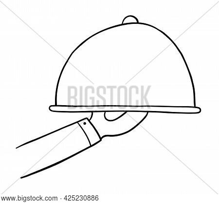 Cartoon Vector Illustration Of Waiter Or Chef Is Serving Food. Black Outlined And White Colored.