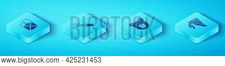 Set Isometric Canteen Water Bottle, Hunter Knife, Bandana Or Biker Scarf And Bear Head Icon. Vector