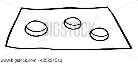 Cartoon Vector Illustration Of Beggar And Coins. Black Outlined And White Colored.