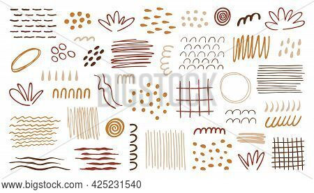 Organic Abstract Shapes Set. Hand Drawn Textures, Forms, Lines, Dots. Vector Illustration In Terraco