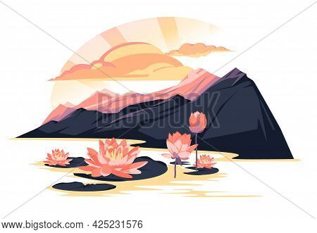 Sunset Landscape Over A Mountain Lake With Blooming Lotuses. Pink And Purple Colorful Flat Illustrat