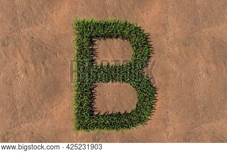 Concept conceptual green summer lawn grass symbol shape on brown soil or earth background, font of B. 3d illustration metaphor for nature, conservation, organic, growth, environment, ecology, spring