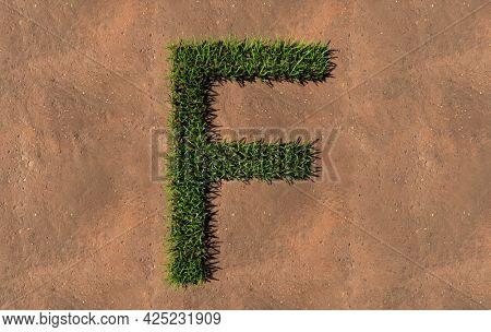 Concept conceptual green summer lawn grass symbol shape on brown soil or earth background, font of F. 3d illustration metaphor for nature, conservation, organic, growth, environment, ecology, spring