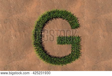 Concept conceptual green summer lawn grass symbol shape on brown soil or earth background, font of G. 3d illustration metaphor for nature, conservation, organic, growth, environment, ecology, spring