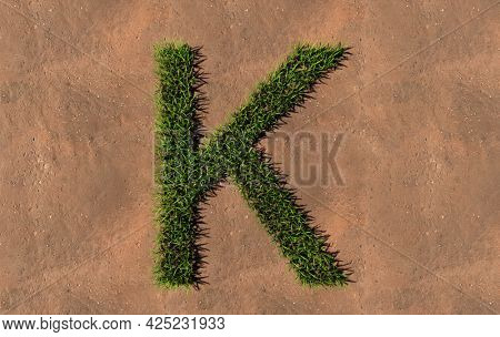 Concept conceptual green summer lawn grass symbol shape on brown soil or earth background, font of K. 3d illustration metaphor for nature, conservation, organic, growth, environment, ecology, spring