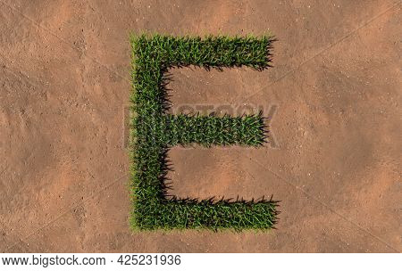 Concept conceptual green summer lawn grass symbol shape on brown soil or earth background, font of E. 3d illustration metaphor for nature, conservation, organic, growth, environment, ecology, spring