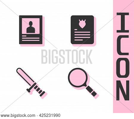 Set Magnifying Glass With Search, Wanted Poster, Police Rubber Baton And The Arrest Warrant Icon. Ve