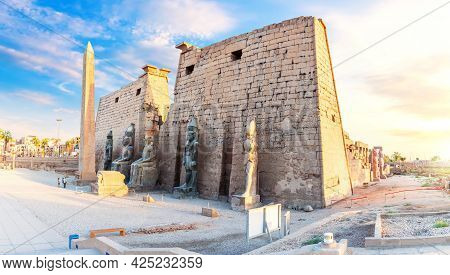 Pylon Of The Temple Of Luxor With The Remaining Luxor Obelisk, Egypt.