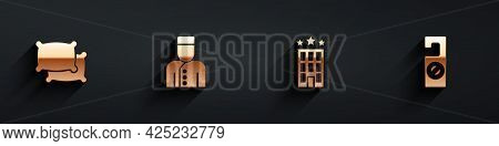 Set Pillow, Concierge, Hotel Building And Please Do Not Disturb Icon With Long Shadow. Vector