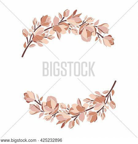 Floral Frame, Wreath With Magnolia Flowers, Leaves, Branches, Blooming Buds, Isolated On White. Vect