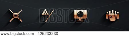 Set Crossed Billiard Cues And Ball, Billiard, Location With Bowling And Bowling Pin Icon With Long S