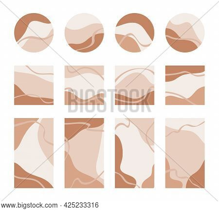 Templates Of Round Icons, Square Cards, Posters With Copy Space For Text. Backgrounds With Abstract
