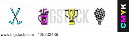 Set Crossed Golf Club, Golf Bag With Clubs, Award Cup And Ball On Tee Icon. Vector