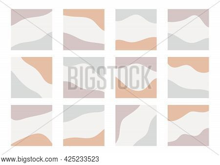 Card Templates With Abstract Organic Shapes For Social Media Stories, Posts, Mobile Apps. Square Bac