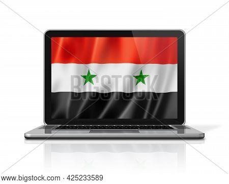 Syria Flag On Laptop Screen Isolated On White. 3d Illustration Render.