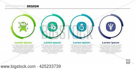 Set Magic Ball, Comet Falling Down Fast, Mars And Neptune Planet. Business Infographic Template. Vec