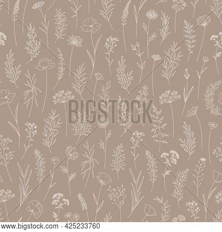 Wildflowers Seamless Pattern. Elegant Floral Print, Thin Line, Trendy Style Design. Midsummer Meadow