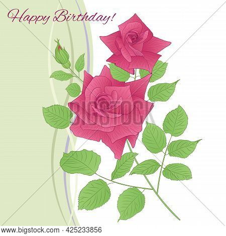 Vector Greeting Card With Pink Rose Sharp-01