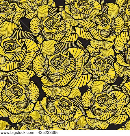 Abstract Elegance Seamless Floral Pattern. Beautiful Flowers Vector Illustration Texture With Yellow