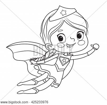 Coloring Page Of Super Hero Children. Boys And Girls Wearing Costumes Of Superheroes Coloring Book.