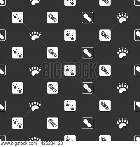 Set Human Footprints Shoes, Bear Paw, Paw And On Seamless Pattern. Vector