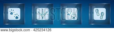 Set Paw Print, Chicken Paw Footprint, Fox And Human Footprints Shoes. Square Glass Panels. Vector